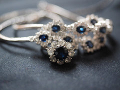 Sapphire birth stone hair pins and rings with clear diamond