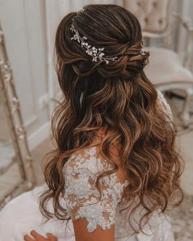 Half up half down bridal hairstyle june avenue