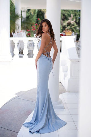 Dusty Blue Fitted Bridesmaid dress by June Avenue