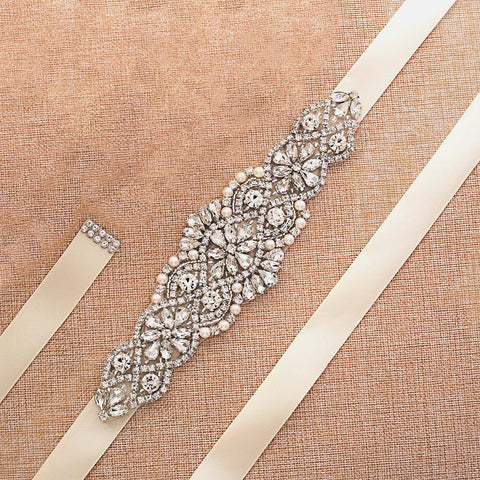 Crystal and pearl bridal belt on a white sating ribbon