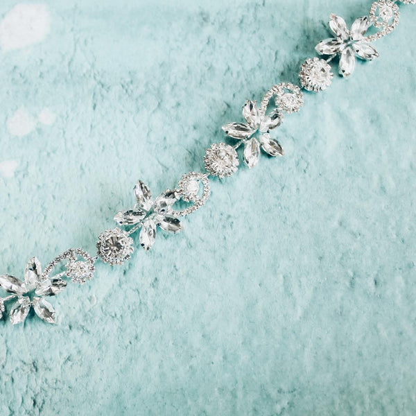 Flowers and swarovski crystals bridal hairband