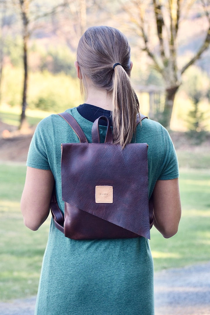 O ROME - leather backpack purse - brown kodiak