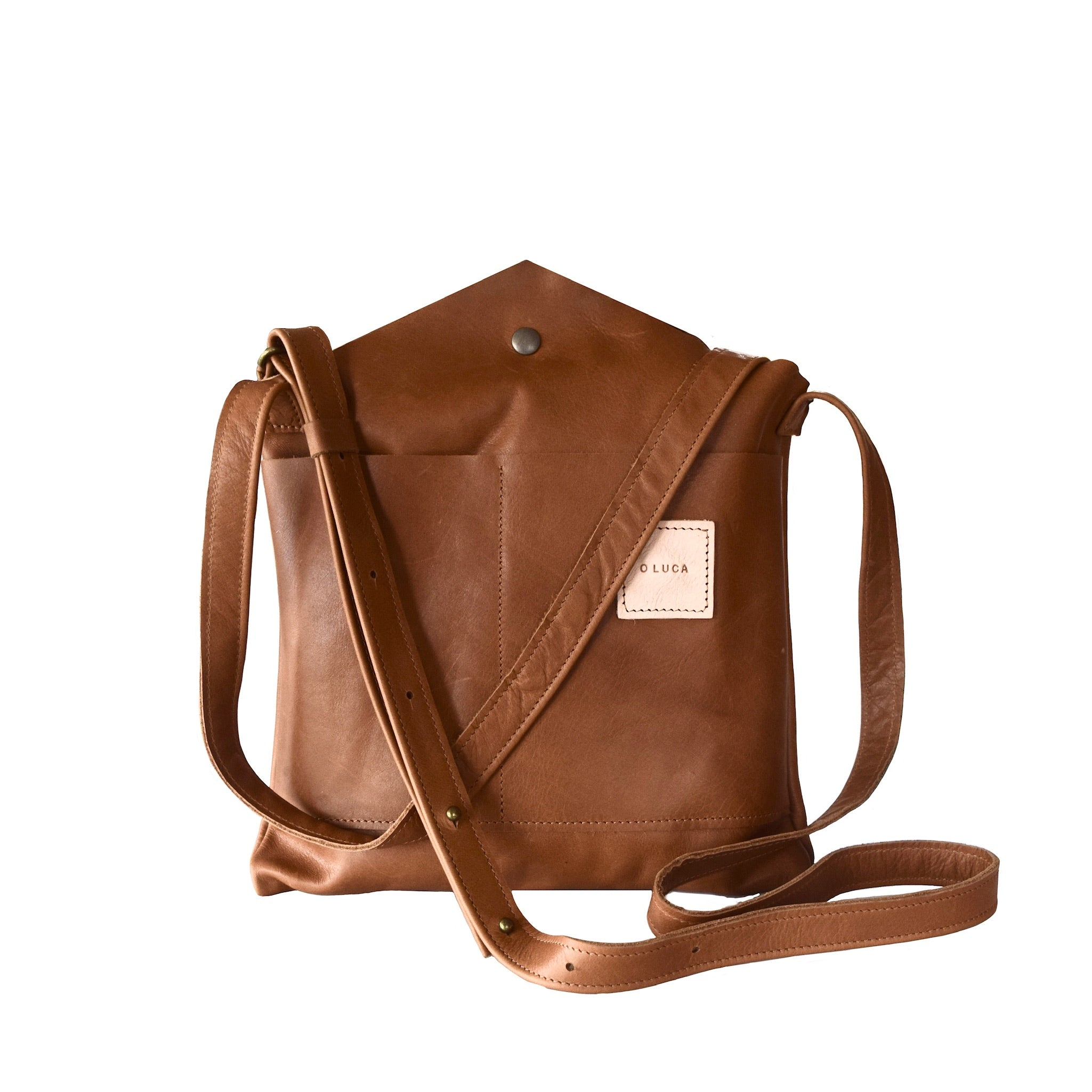 O RIVIERA - leather crossbody handbag with shoulder strap - Caramel