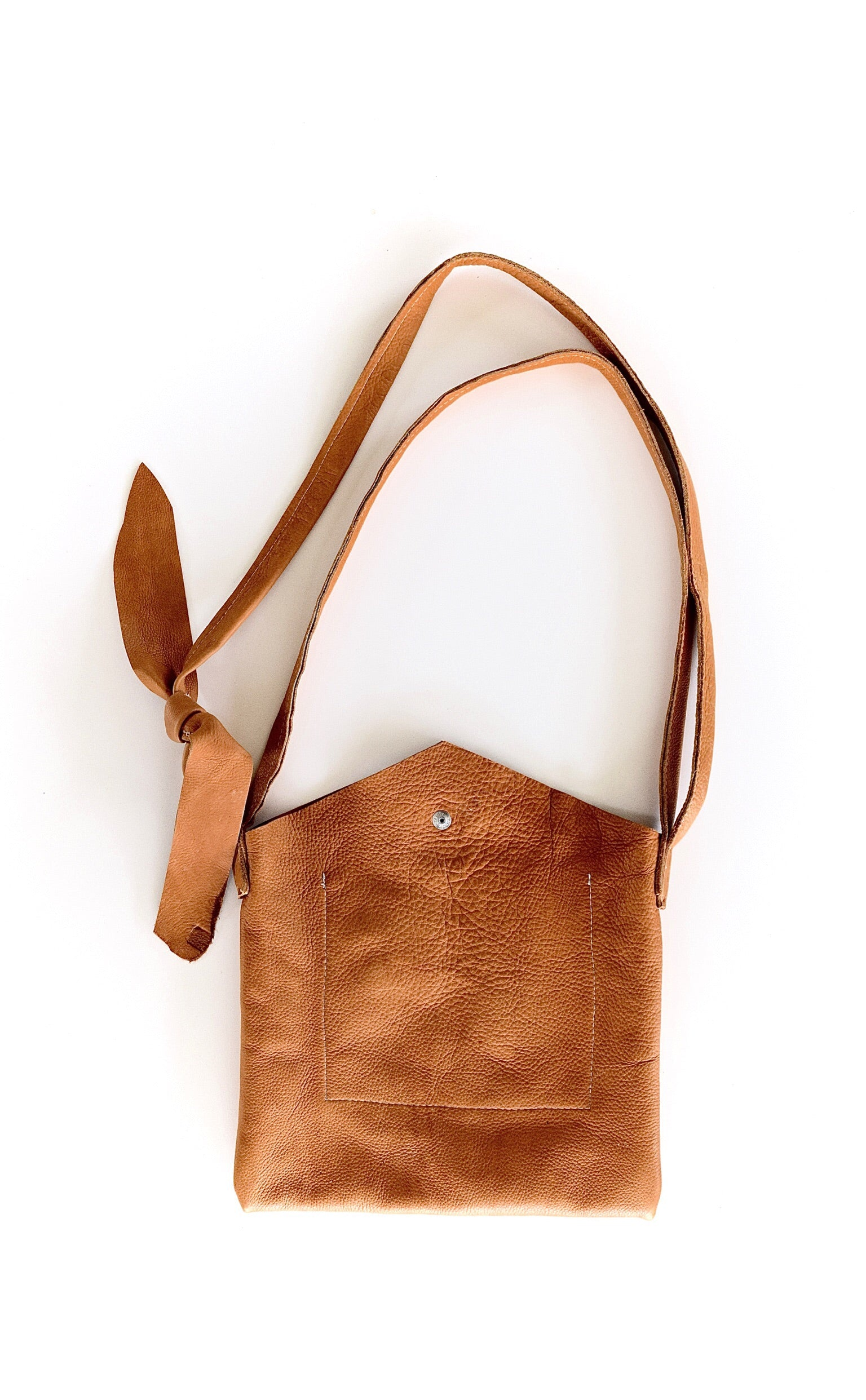 O RIVIERA - leather crossbody handbag with shoulder strap - saddle tan