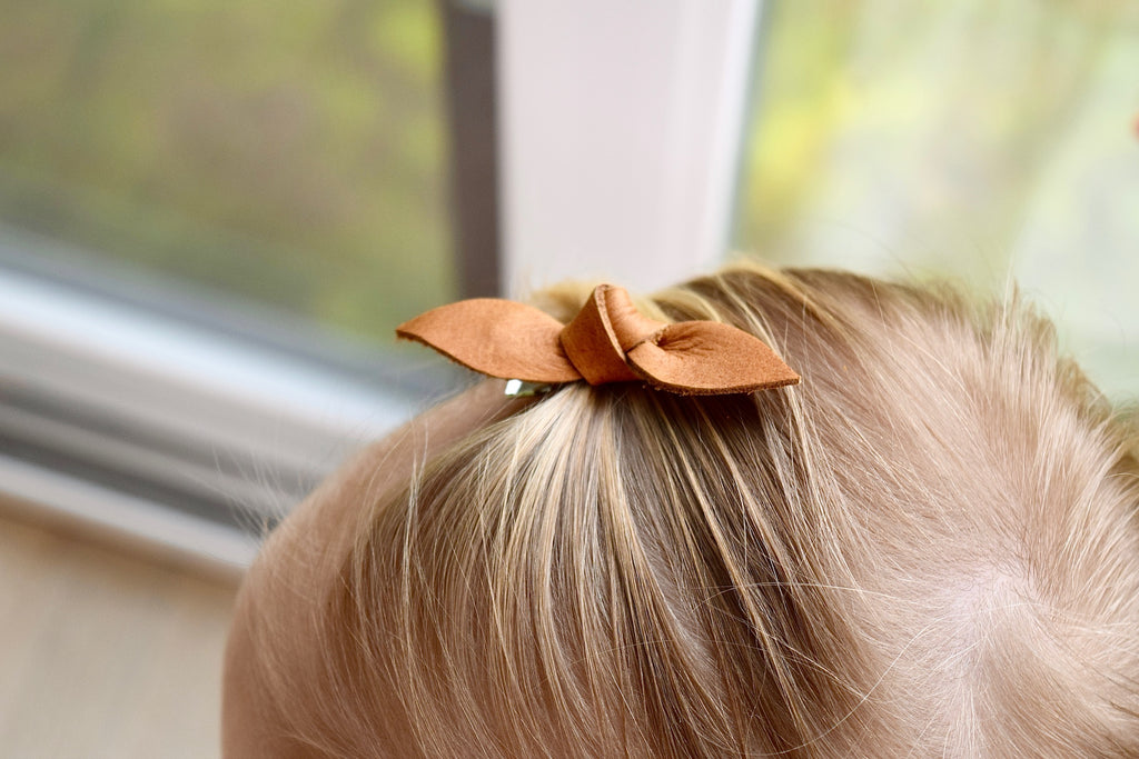 Bow Hair Clip - 3 pack - caramel, black, slate