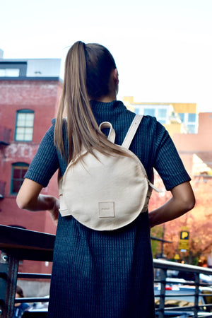 O STOCKHOLM - round leather backpack - natural leather