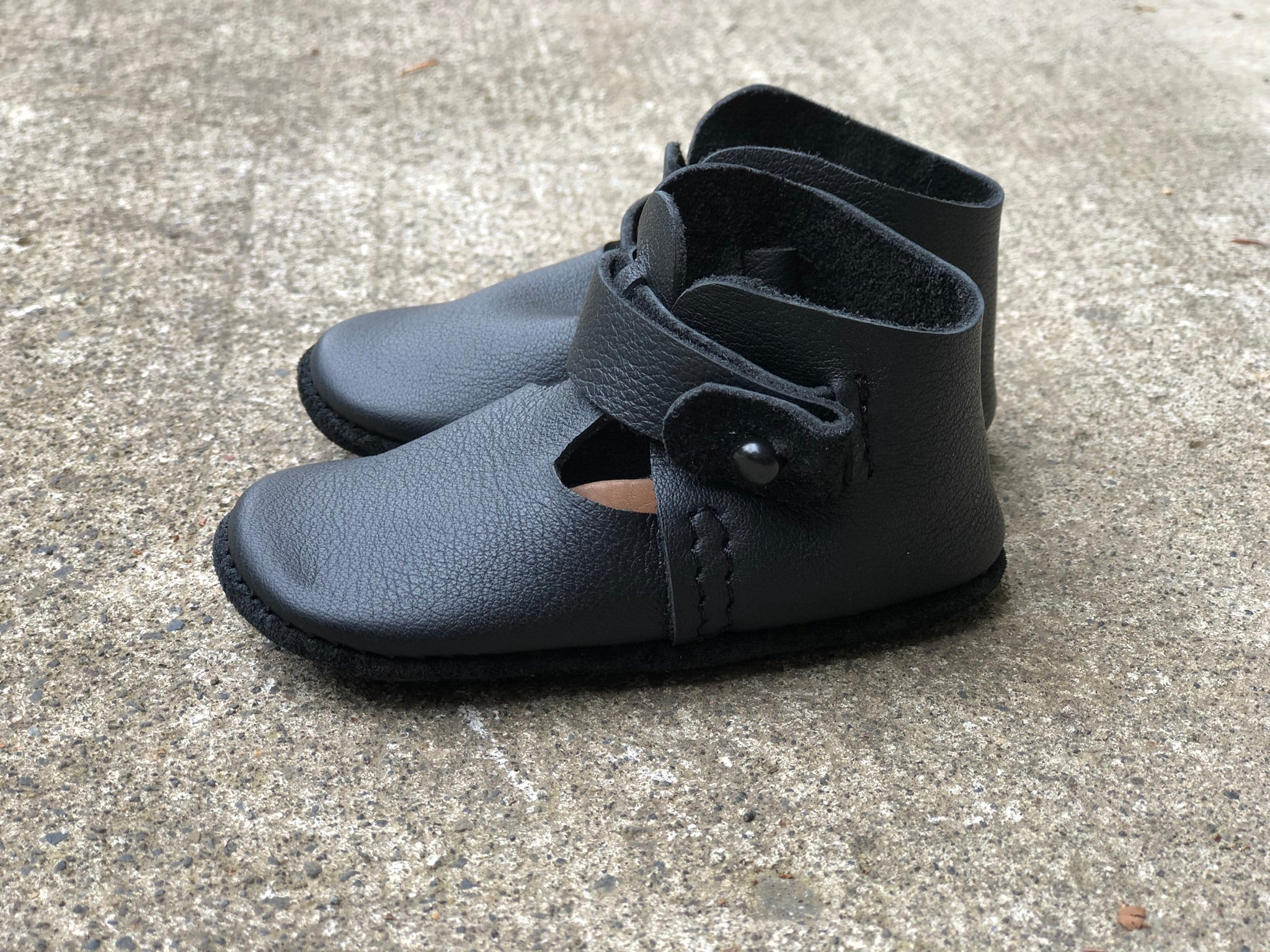 LITTLE LUCY - leather baby and toddler shoes - midnight black