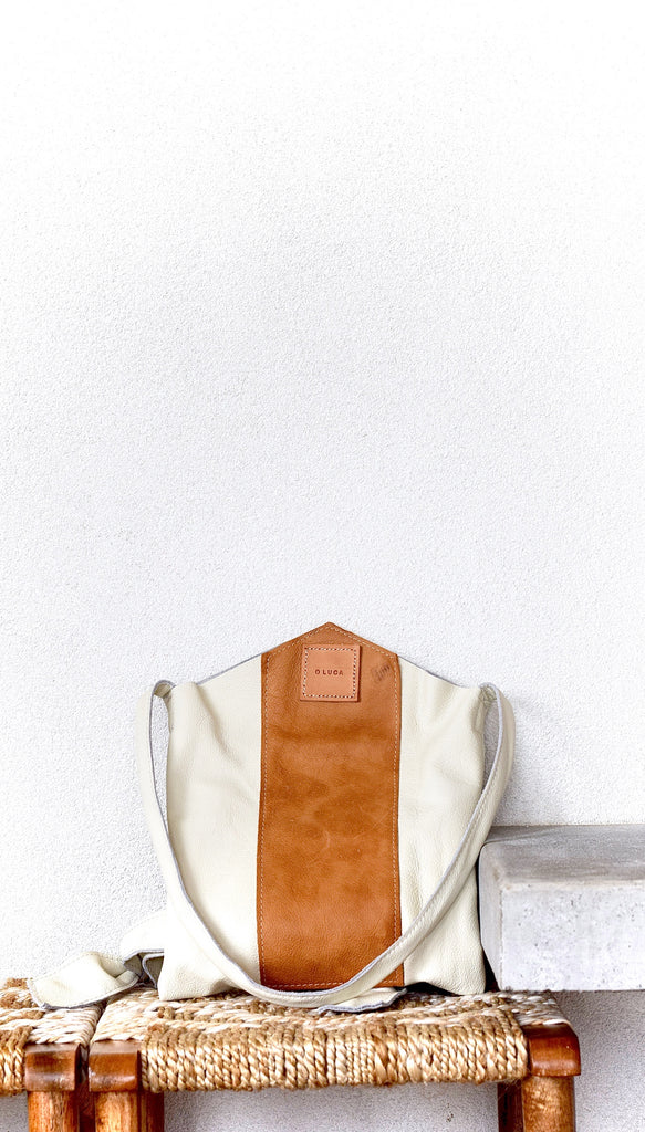 O LONDON - cream and tan leather backpack with shoulder strap
