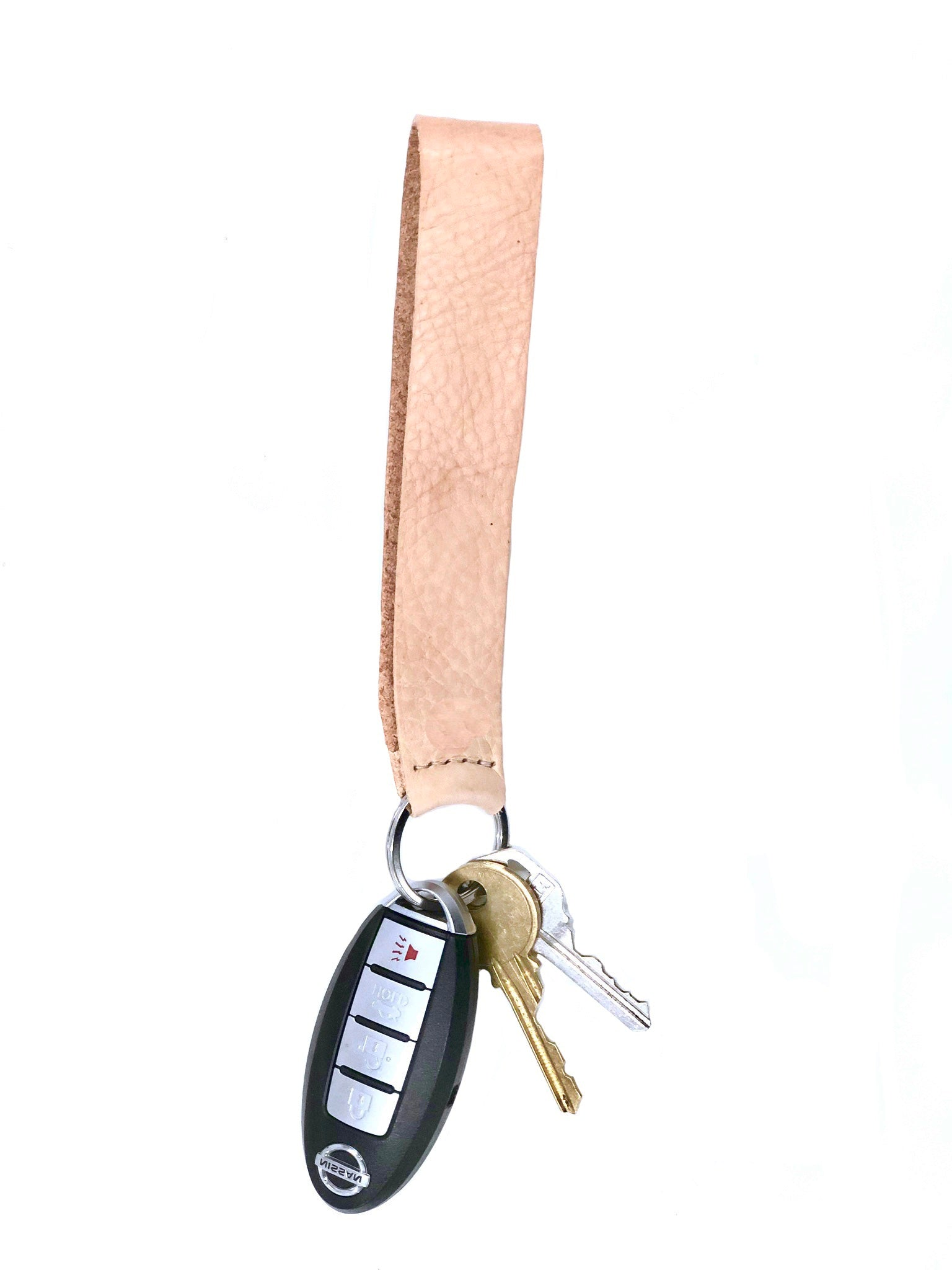 KEY CHAIN - leather wristlet natural leather