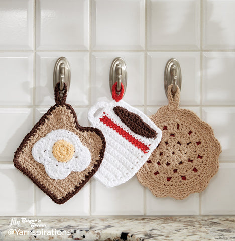 crochet pot holder diner trio