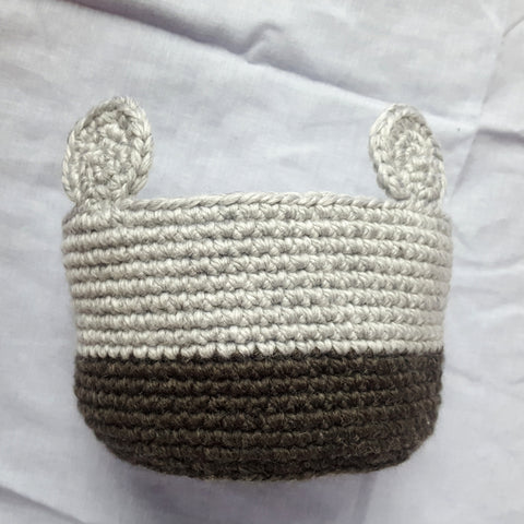 crochet basket with ears
