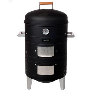 Meco Charcoal Water Vertical BBQ Meat Smoker - Black