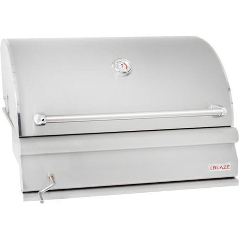 Blaze 32-Inch Built-In Stainless Steel Charcoal Grill With Adjustable Charcoal Tray