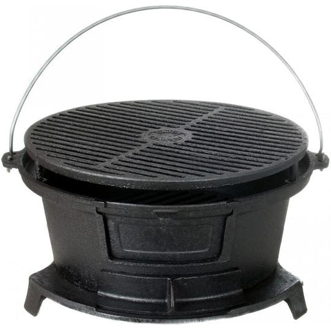 Cajun Cookware Round Seasoned Cast Iron Charcoal Hibachi Grill