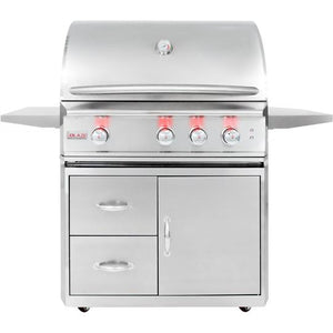 Blaze Professional 34-Inch 3-Burner Freestanding Propane Gas Grill With Rear Infrared Burner