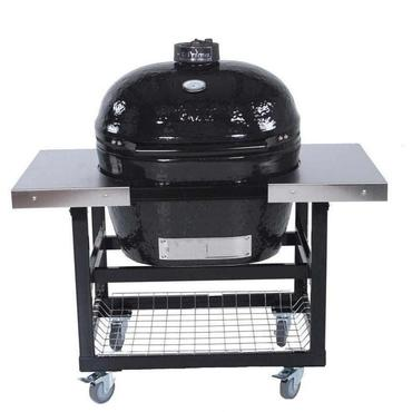 Primo Ceramic Charcoal Smoker Grill On Steel Cart With Stainless Side Tables - Oval XL