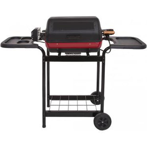Meco Electric BBQ Grill On Cart With Rotisserie And Plastic Side Trays - 9359W