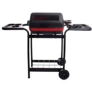 Meco Electric Grill On Cart With Window And Plastic Side Trays - 9350W