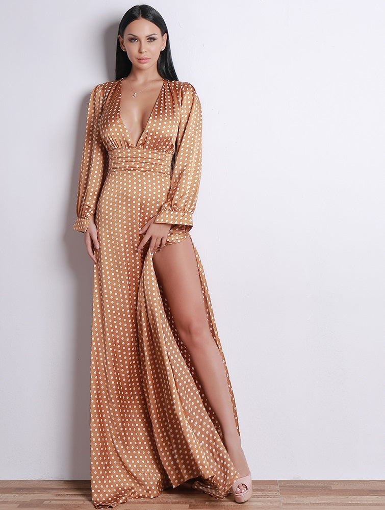 Tan Polka Dot Dress