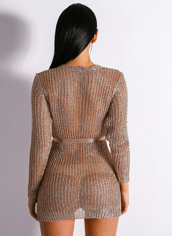Rose Gold Knitted Cardigan Sweater Dress