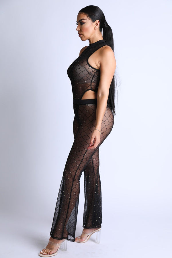 Diamond Mesh Bodysuit Set With Flared Pants