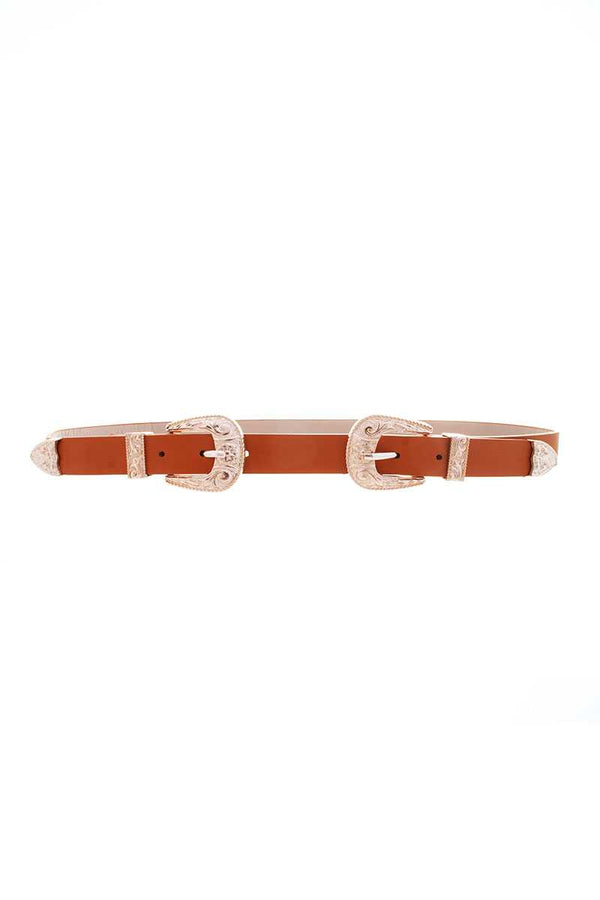Double Gold Pattern Metal Buckle Western Belt