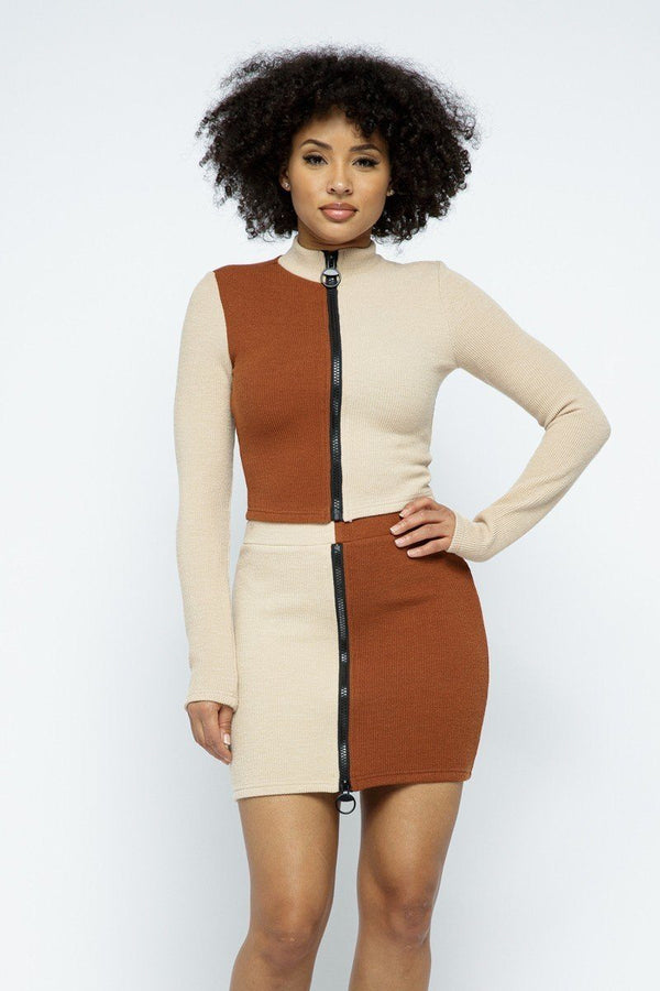 Color Block Mock Neck Long Sleeve High-waist Mini Skirt With Front Zipper Set