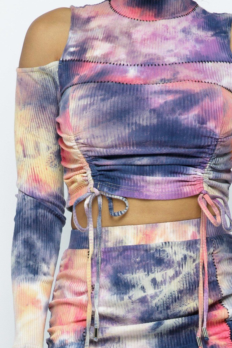 Tie Dye Open Shoulder Long Sleeve Top And Matching Skirt W Ruching Details