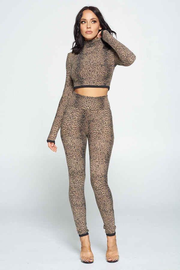 Animal Print Long Sleeve Two Piece Set