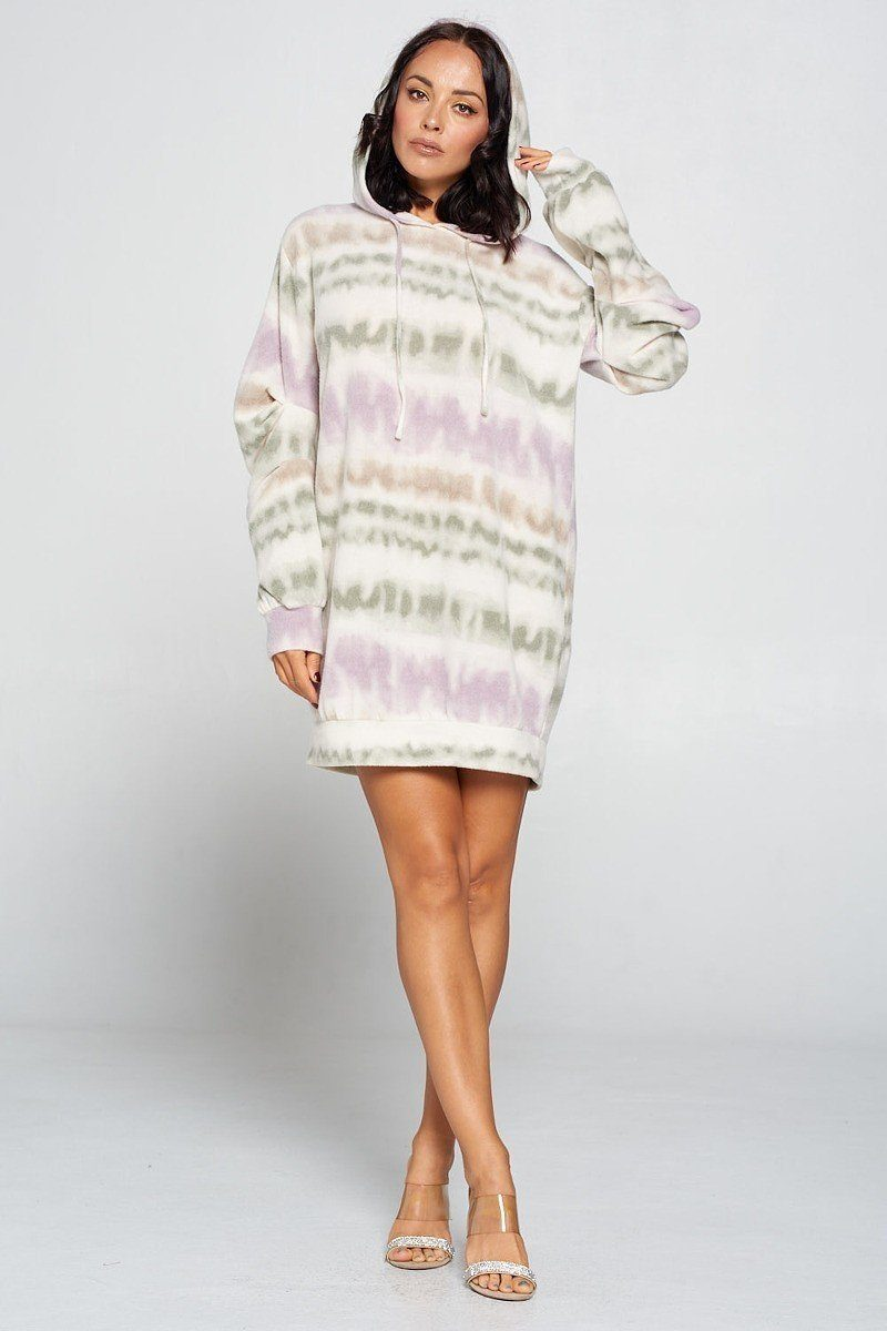 Terry Brushed Print Sweater Dress