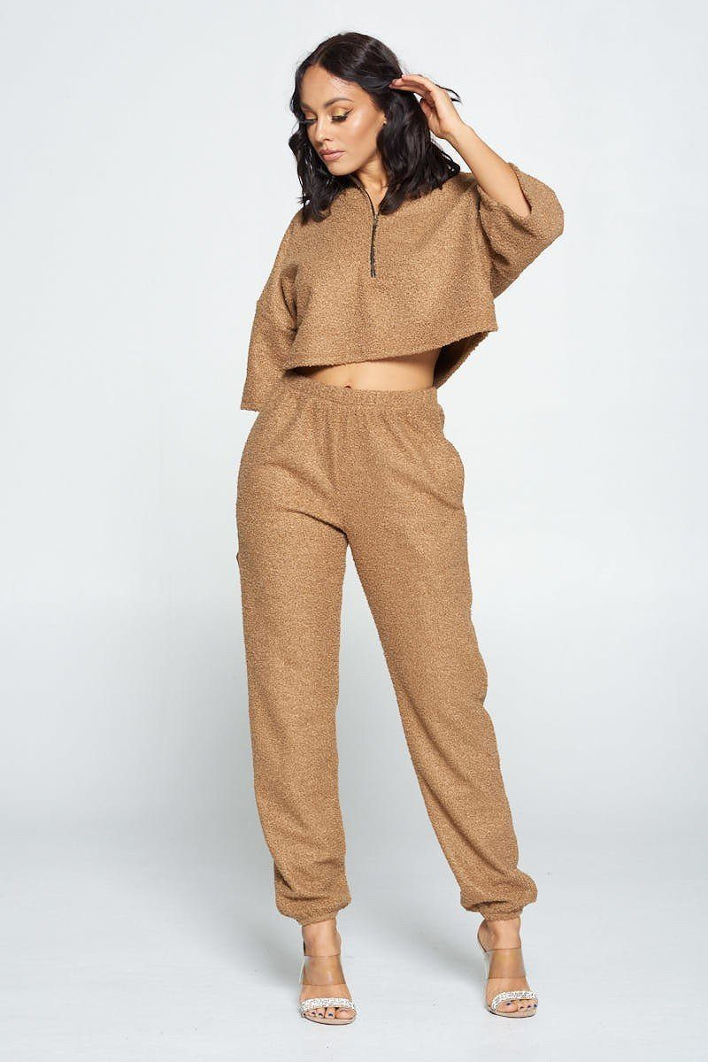 Brown Top And Pant Set