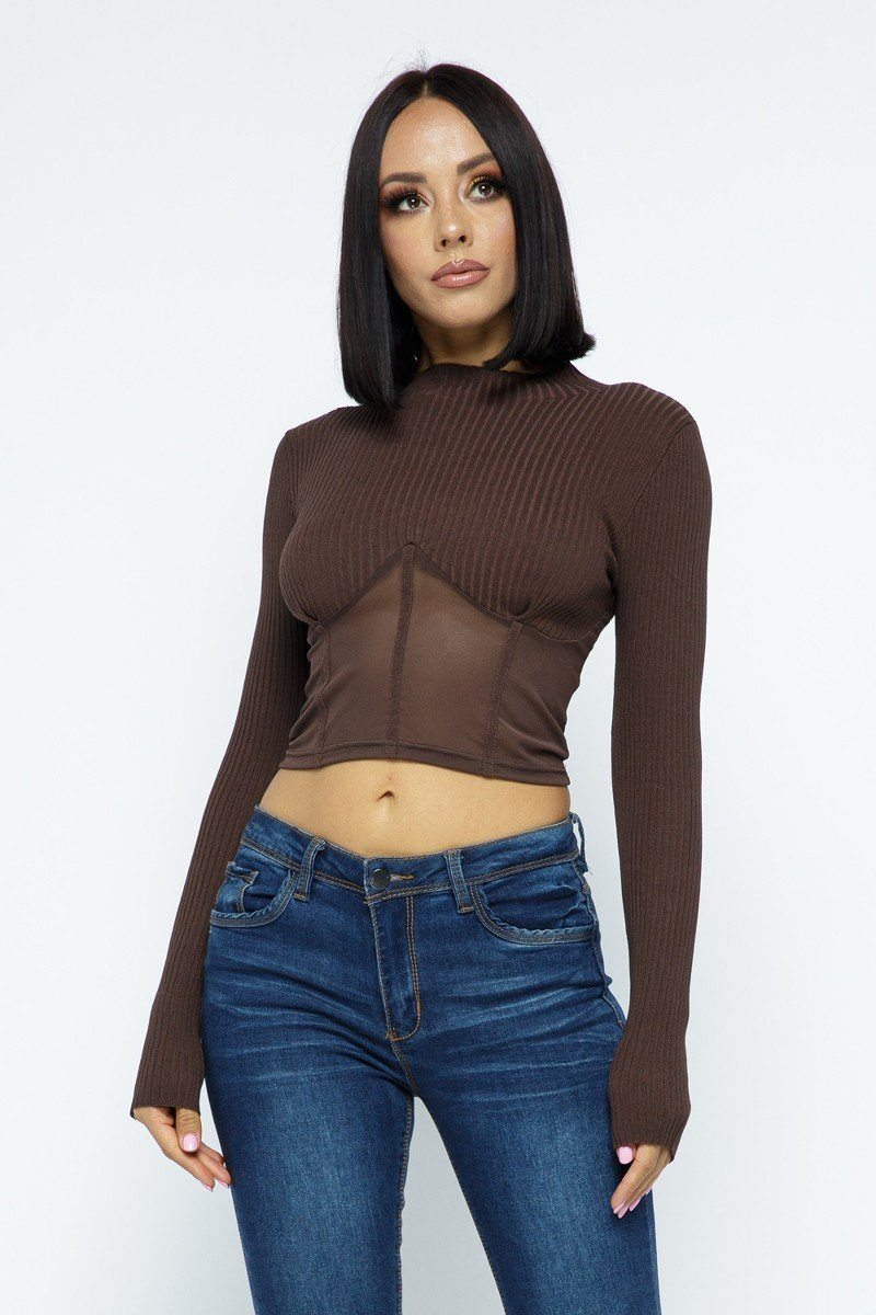 Knit Crop Top With Bottom Mesh