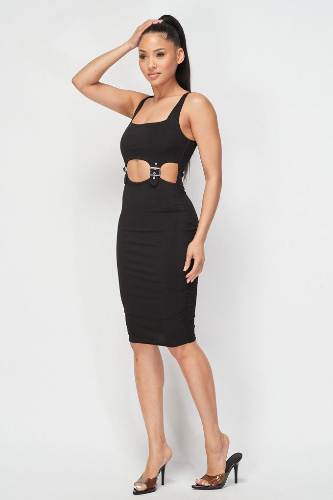Cut-out Buckle Detail Bodycon Dress