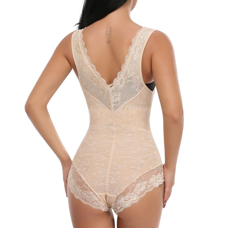 Full Body Shaper Bodysuits Waist Trainer Tummy Control Corset Floral Girdle