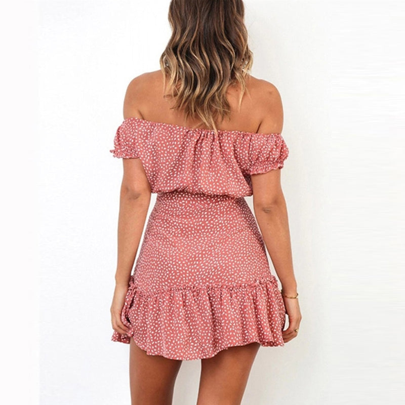 Sexy Off Shoulder Polka Dot Print Bodycon Mini Dress