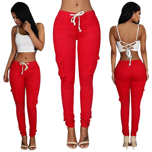 Women Casual Drawstring Multi Pocket Cargo Pants Skinny Pencil Fit