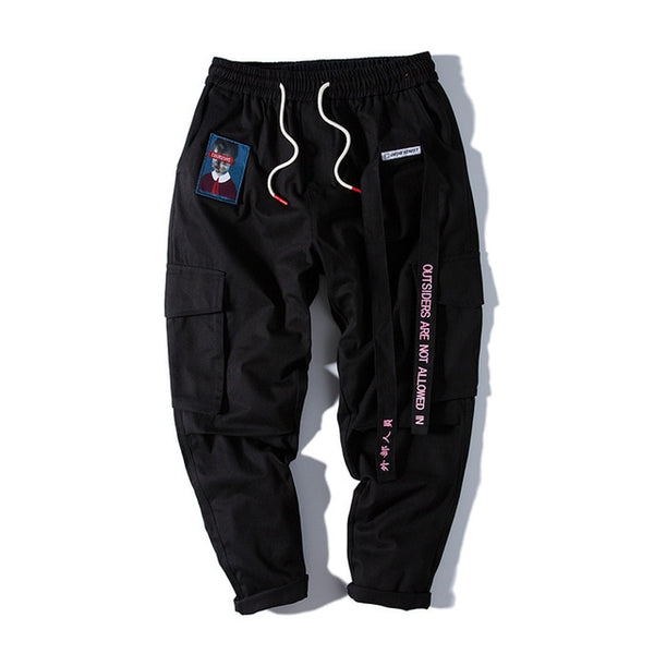 Men Casual Streetwear Cargo Harem Pants Ribbon Letter Embroidery Japanese Joggers