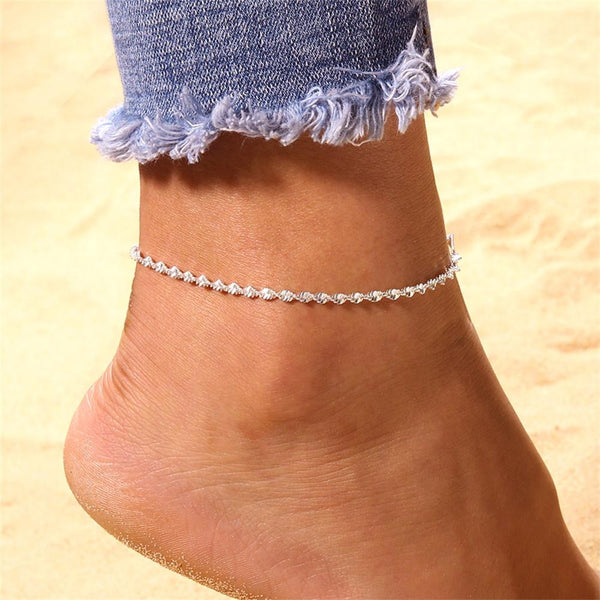Silver Color Anklet Bracelet on The Leg Fashion Jewelry Anklets