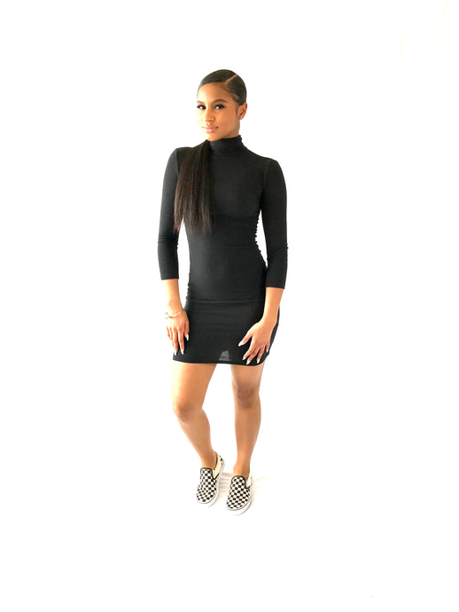 Mini Black Turtle Neck Dress