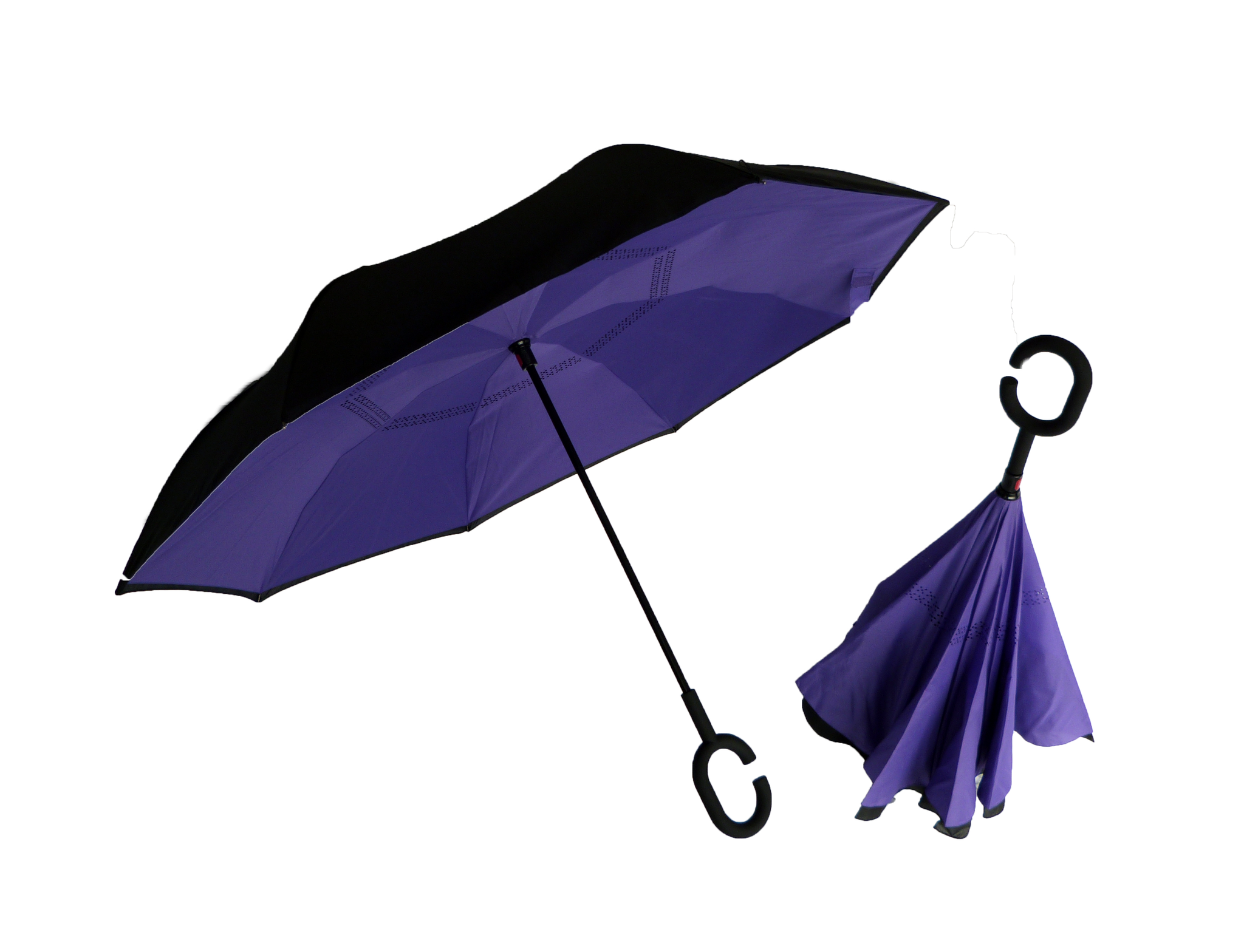 Inverted blue umbrella