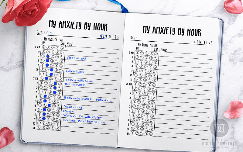Free Printable Hourly Anxiety Tracker