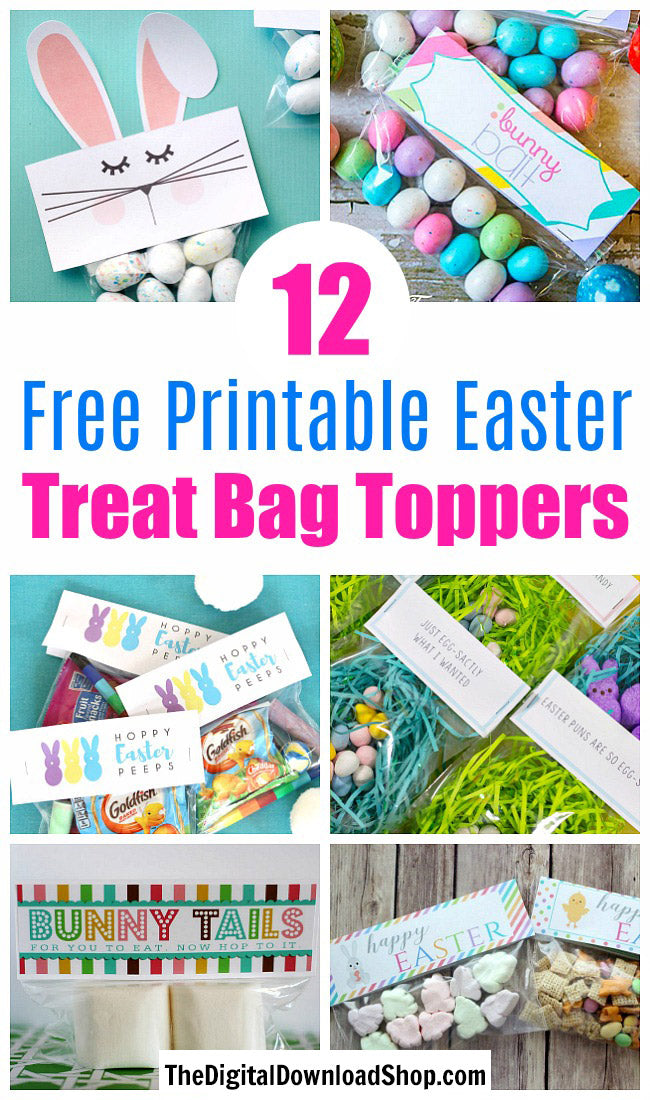 12 Free Printable Easter Treat Bag Toppers- Make your Easter favors and candy gifts look egg-stra cute this year with some of these adorable free printable Easter treat bag toppers! | Easter party favors, Easter printable, #freePrintables #printable #Easter #treatBags #DigitalDownloadShop