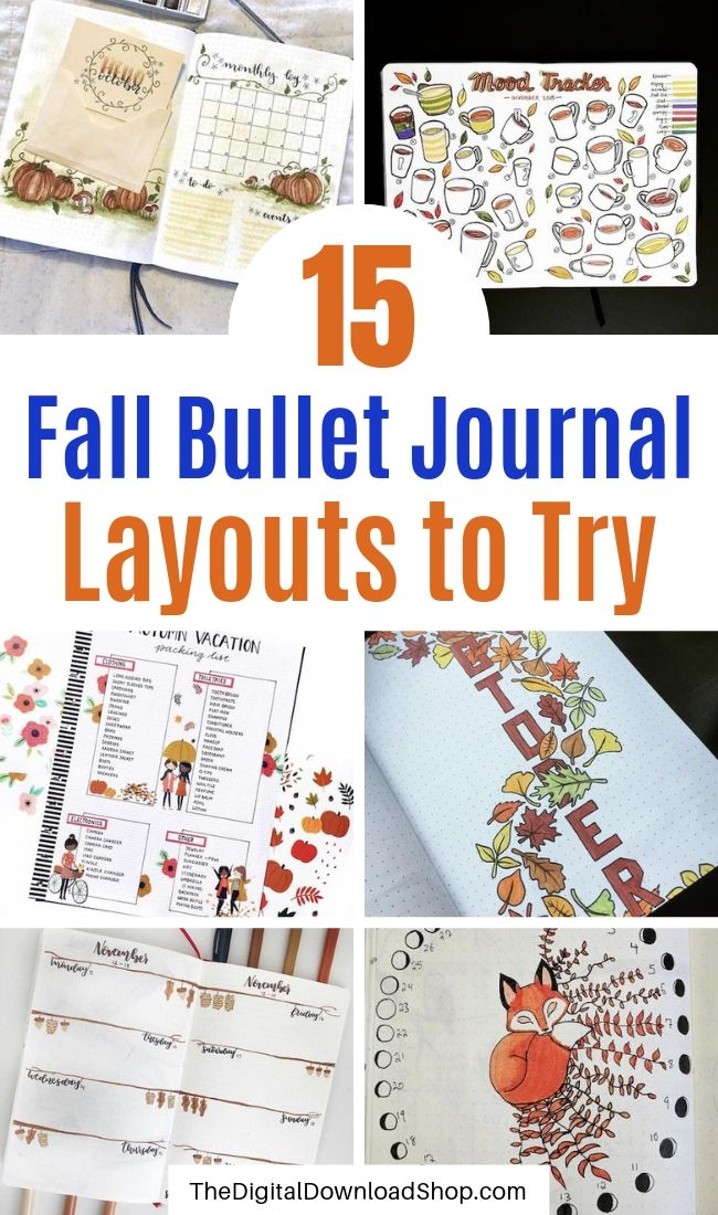 15 Fall Bullet Journal Layouts to Try- Get your bujo ready for autumn with inspiration from these 15 fall bullet journals! There are so many beautiful autumn-themed weekly planners, trackers, and more! | autumn bullet journal pages, fall planner ideas, #bulletJournal #bujoIdeas #bulletJournalLayout #bulletJournalSpread #DigitalDownloadShop