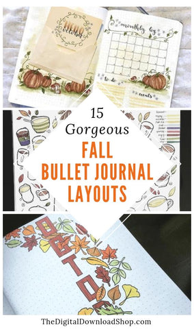 15 Fall Bullet Journal Layouts to Try- Make your bujo beautiful this fall with inspiration from these 15 fall bullet journals! There are so many beautiful autumn-themed weekly spreads, trackers, and more to try! | autumn bullet journal pages, fall planner ideas, #bulletJournal #bujo #bulletJournalLayout #planner #DigitalDownloadShop