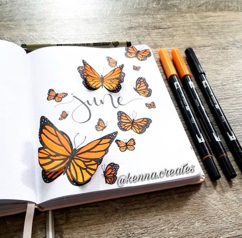 Bujo Cover wtih 3D Butterflies- Get your bullet journal ready for summer with these gorgeous summer bujo ideas! You have to see these inspiring summery trackers, layouts, covers, and more! | #bulletJournal #bujo #bujoIdeas #bujoInspiration #DigitalDownloadShop