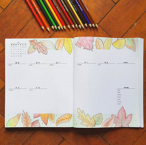 Fall Bullet Journal Weekly Layout- Make your bujo beautiful this fall with inspiration from these 15 fall bullet journals! There are so many beautiful autumn-themed weekly spreads, trackers, and more to try! | autumn bullet journal pages, fall planner ideas, #bulletJournal #bujo #bulletJournalLayout #planner #DigitalDownloadShop