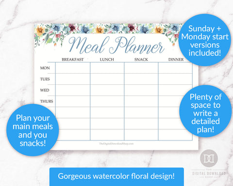 Free Weekly Meal Planner Printable- This gorgeous free printable meal planner is decorate with watercolor florals and is the perfect way to plan your meals for the week! | #mealPlanning #menuPlanning #mealPlanner #freePrintable #DigitalDownloadShop