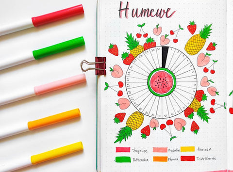 Bullet Journal Fruity Mood Tracker- Get your bullet journal ready for summer with these gorgeous summer bujo ideas! You have to see these inspiring summery trackers, layouts, covers, and more! | #bulletJournal #bujo #bujoIdeas #bujoInspiration #DigitalDownloadShop