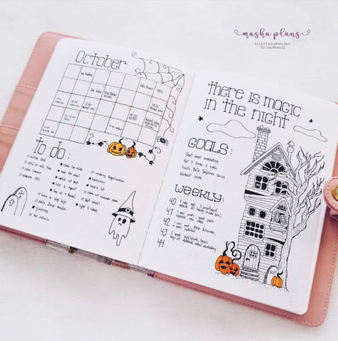 Haunted House Bullet Journal Layout- Make your bujo beautiful this fall with inspiration from these 15 fall bullet journals! There are so many beautiful autumn-themed weekly spreads, trackers, and more to try! | autumn bullet journal pages, fall planner ideas, #bulletJournal #bujo #bulletJournalLayout #planner #DigitalDownloadShop