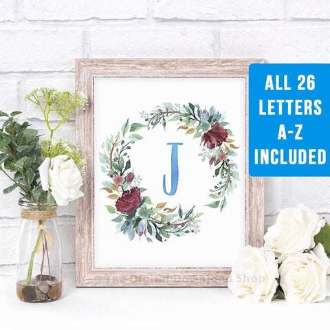 Watercolor Floral Wreath Monogram- Blue